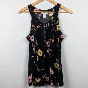 WHBM NWT Dahlia Tassel Top Black Floral M